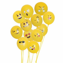 12-Pack Emoji Smiley Face Latex Balloons Birthday Party Supplies Decorations wholesale A20