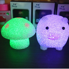 1PCS New Crystal mushrooms colorful pig night light electronic gifts children's bed desk lamp night(China)