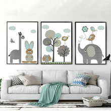New Giraffe Rabbit Animals Canvas Painting Nordic Cartoon Oil Pictures Wall Art Baby Nursery Rooms Poster Home Decor Unframed