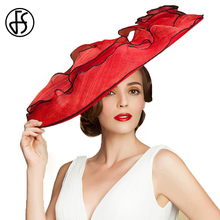 Queen Summer Wedding Hat For Women Red Large Wide Brim Linen Hat For Ladies Elegnat Church Kentucky Derby Hats