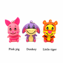 Cartoon Donkey Pink Pig Little Tiger model USB 2.0 Memory Stick Flash pen Drive 4GB 8GB 16GB 32GB 100% Genuines pendrive
