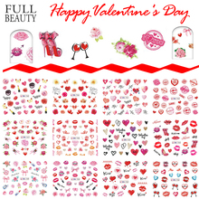 Full Beauty 12 Designs Valentine Colorful Sticker for Nail Art Decorations Red Rose Lipstick Water Transfer Decals CHBN745-756(China)
