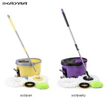 iKayaa Hands-free Stainless Steel Rotating Spin Mop Bucket Set with Foot Pedal Self-Wring Floor Mop For Home Clean US DE Stock