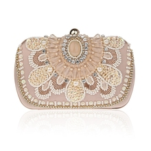 Brand Women Clutch Bags Pearl Beaded Evening Bag Wholesale Bridal Wedding Party Purse Camel Crystal Handbag SMYCWL-F0008