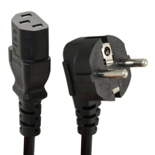 1.5m C13 IEC Kettle to European 2 pin Round AC EU Plug Power Cable Lead Cord PC