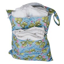 Baby Waterproof Zipper Reusable Cloth Diaper Bag Push Button Tote Frog Pattern