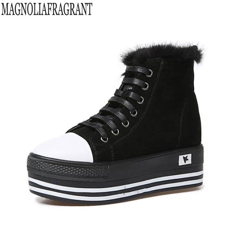2018  Leathe boots women female winter platform shoes casual shoes plus cashmere boots cotton shoes ankle boots for women k574<br>