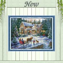 Возвращение из Рождество зимние Снежные пейзажи, счетный Печать на холсте DMC 14ct 11ct DMS вышивки крестом Вышивка наборы набор для шитья(China)