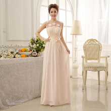 2017 sexy autumn chiffon long modest lace bridesmaid dresses bride maids dress with sheer top for party and wedding D2271