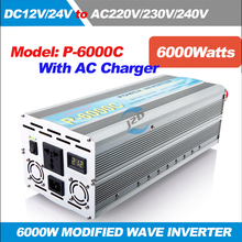 P-6000C 6KW/6000W Solar Power Inverter Modified Sine wave Inverter DC 12/24V to AC 220/230/240V,50/60HZ with AC Charger