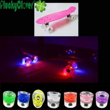 1pc Colorful Fish Skateboard Flash Roller Skate Wheel Penny Skateboard LED Light Wheel Dance Board 85A 65X45mm Wheels Longboard(China)