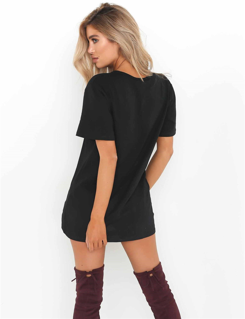 Casual Short Sleeve 2017 Summer T Shirt Dress Women Sexy V Neck Short Mini Dress Black Ladies Bodycon Party Dresses Robe Femme 4