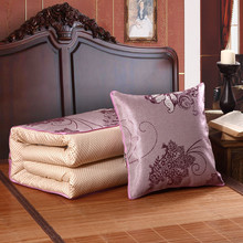 Floral Design Satin Ice Silk Cushion Blanket/Portable Air Conditioner Quilt/Summer Multifunction Car Cushion Pillow Home Office