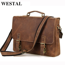 WESTAL Crazy Horse Genuine Leather Men Bag Men Briefcase Men's Leather Laptop Bag 14 Hasp Casual Handbag Single Shoulder Bags