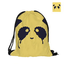 Crying Panda Printing Drawstring Backpack Novelty Fashion Polyester Bags For Women Men Yellow Pouch Backpacks(China)