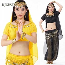 DJGRSTER New Bellydance Costume Set 3 Pieces Pants +Top+Gold Coin Belt India Belly Dance Practice Clothing For Women 12 colors(China)