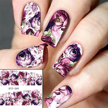 1 Sheet Purple Flower Full Wraps Nail Art Water Transfer Stickers Decals Beauty Nail Decor Watermark Nail Decals DIY LASTZ369