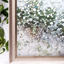 CottonColors PVC Window Films Cover Waterproof  No-Glue 3D Static Cobblestone Decorative Glass Stickers Home Decor 45 x 200cm