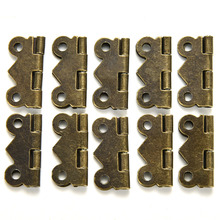Fashion Design bronze Yellow 10x Mini Butterfly Door Cabinet Drawer Jewellery Box Hinge Furniture 20mm x17mm(China)