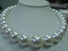 "NEW Beautiful 18"" 12-13mm AAA south sea white natural pearl necklace yellow Plated clasp earring set"