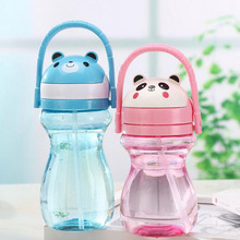 Children Kids Baby Cartoon Lovely Animal Eco-friendly With lid Hiking Straw Type Plastic Water Drinking bottle ZA3024(China)