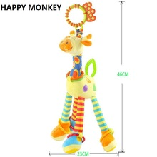 Buy Happy Monkey Baby Development Soft Plush Rattle Animal Giraffe Handle Toy Baby Trolley Baby Crib Hanging Teether Toy KF986 for $7.11 in AliExpress store