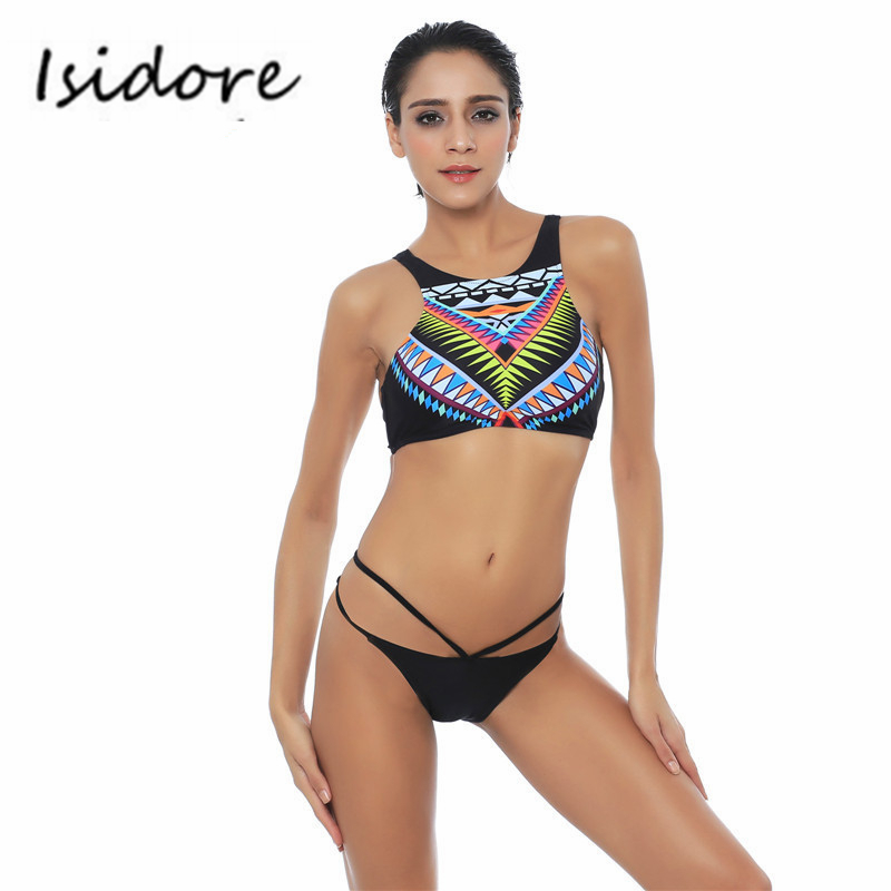 Womens High Neck Bikini Ethnic Style Summer Beach Swimwear Sexy Swimsuit Bathing Suit Black Push Up Two-Piece Suit Bikinis Set <br><br>Aliexpress