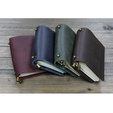 100% Genuine Leather Multi Function Traveler's Notebook Diary Journal Vintage Handmade Cowhide gift travel notebook(China)