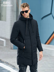 Enjeolon Coat Men Jacket Parka QUILTED Long Brand Winter Thick MF0060 Hat 3XL