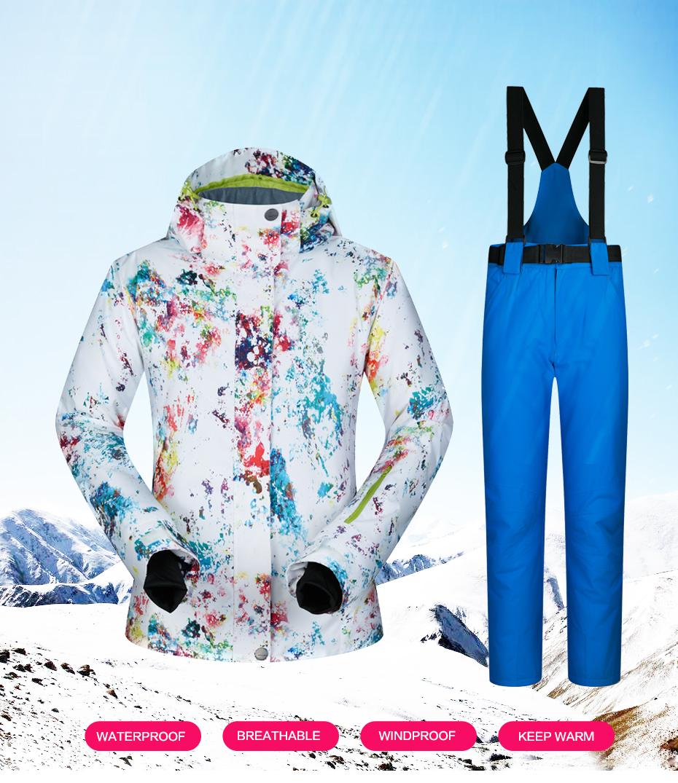 4efc7d23f3 2019 2018 New Ski Suits Women Winter Snow Suit Female Skiing ...