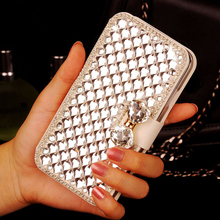 Luxury  Bling Crystal Diamond White PU Leather  Wallet Case Cover For Acer Liquid Jade S55