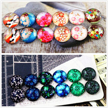 12pcs/lot (One Set) Two Style 12mm Retro flowers Handmade Glass Cabochons Pattern Domed Jewelry Accessories Supplies
