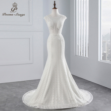 Buy PoemsSongs real photo 2018 Cap Sleeves Mermaid wedding dress beading beading sexy lace Wedding Gown Vestido de noiva for $78.96 in AliExpress store