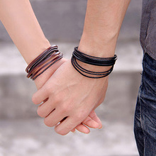 1 Piece Hot Hand-woven Fashion Jewelry Leather Braided Rope Wristband Wrap Multilayer Men Bracelets & Bangles For Women(China)