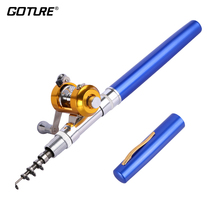 Goture Winter Fishing Rod 95cm(closed 20.5cm)Portable Mini Telescopic Fishing Pole Pocket Rods with Drum-reel for Ice Fishing(China)