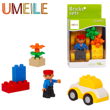 UMEILE Original Classic Big Building Block Car Train Attendant Figure Kids Toys Diy Brick Educational Compatible with Duplo(China)