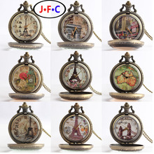 Fashion retro Paris quartz pocket  watch tower large white quartz glass mirror Rome high-end fashion word table
