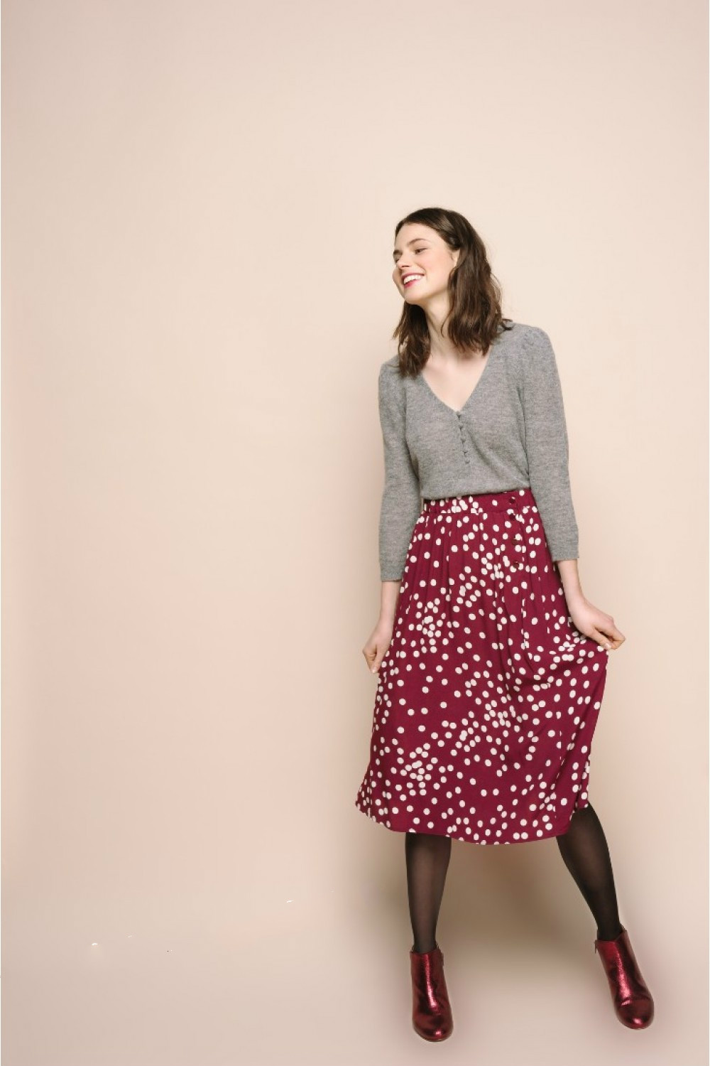 Women Skirt Vintage Polka Dot High Waist Midi Skirt