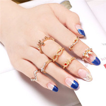 SHUANGR Fashion Kastet Ring Jewelry For Women 7pcs Infinity Cross Gold-Color Mid Nail Knuckle Finger Rings Aneis Femininos