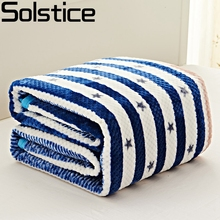 Solstlce Brand Bedding Warm Soft Thick Blue Star Striped Blanket On The Bed Adult Blankets For Beds Bedspreads Home Textile