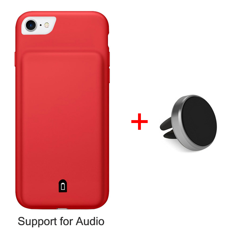 RCN External Power bank Pack backup battery Charger Case For iPhone 6 S 7 Plus Audio Input Cover Charging 2 in 1 with car holder(China (Mainland))