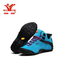 XIANGGUAN New arrival women mid cut waterproof outdoor sports boot Lovers high quality suede leather hiking shoes women82287