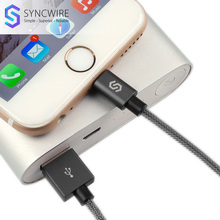 Syncwire New 2.4A Lightning Cable 1m 2m Nylon USB Charger Cord for iPhone X 8 7 6 6s Plus 5s 5 5c SE iPad iPod [MFi certified](China)