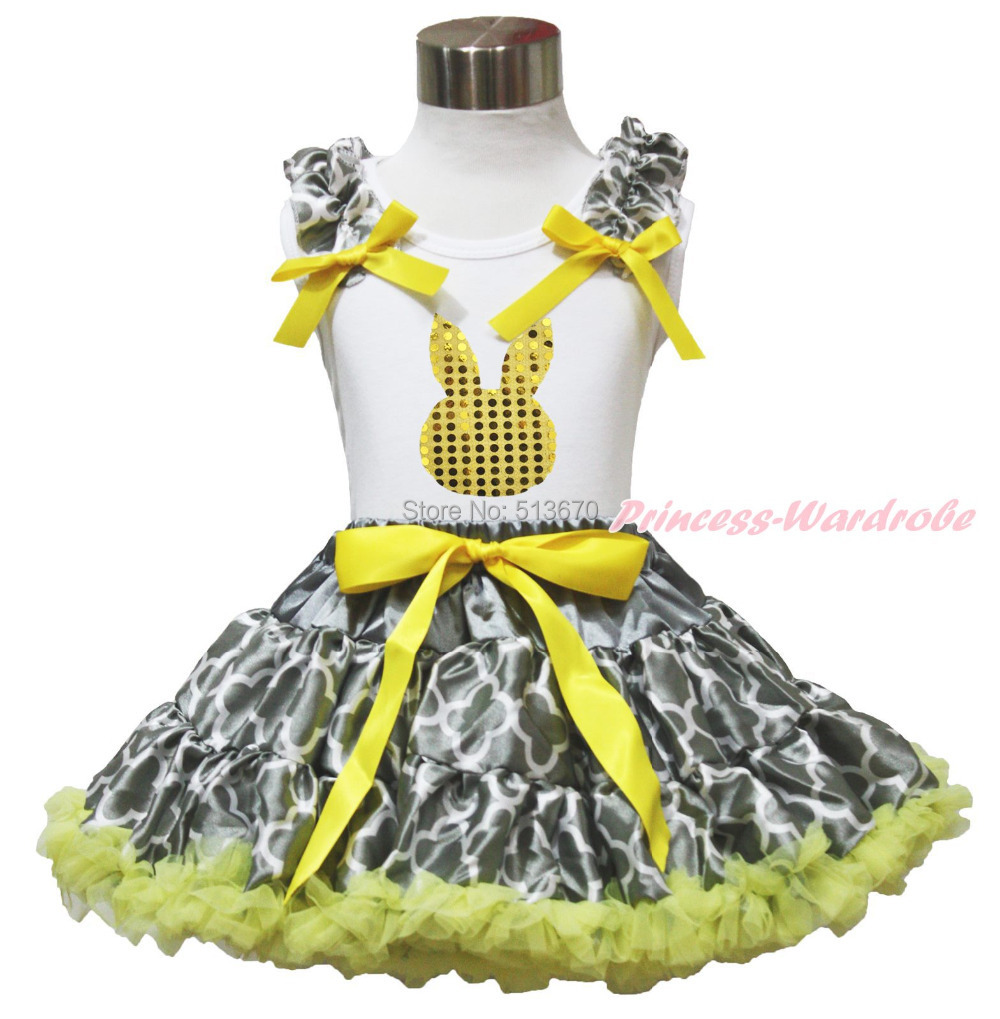 Easter Bling Gold Dot Bunny White Top shirt Yellow Bow Grey Quatrefoil Clover Baby Girl Pettiskirt Outfit Set 1-8Y MAPSA0516<br>