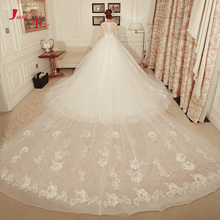 Buy Jark Tozr Long Sleeve Appliques Flowers Beading Ball Gown Wedding Dresses Removable Lace Chapel Train Vestidos De Novia for $286.58 in AliExpress store
