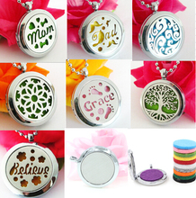 1pcs Mix plain style Stainless Steel Perfume Aromatherapy essential oil Diffuser Aromatherapy locket Felt Pad randomly freely