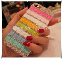 Bling Pink Blue Crystal Diamond Rhinestones capa para cover phone cases For apple iphone 5 5S 5G with Dust plug Free shipping