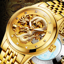 Luxury Automatic Mechanical Wristwatches Dragon Genuine Leather Stainless Steel Band Men's Watch Waterproof relogio masculino(China)
