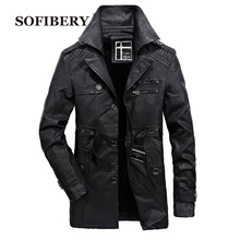 SOFIBERY long leather jacket  men thick warm mens leather jackets  and coats fashion wool liner overcoat  SJLR6693