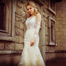 Wedding Mermaid Wedding Dresses Formal Tulle Lace Appliques Pearls Long Sleeve Floor Length Bridal Gowns Custom(China)
